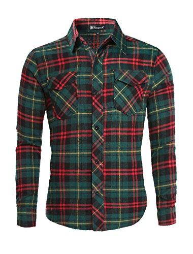 Flannel K Shirt Flap w Allegra Pockets Plaids Red uxcell Men qv5xIZwq