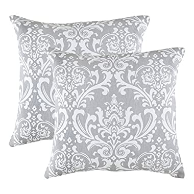 TreeWool, Cotton Canvas Damask Accent Decorative Throw Pillowcases (Pack of 2 Cushion Covers; 18 x 18 Inches; Silver Grey & White)