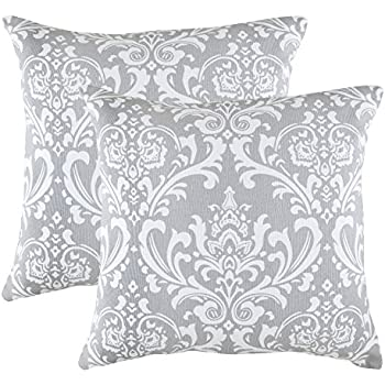 treewool pack of 2 damask accent throw pillow covers in cotton canvas