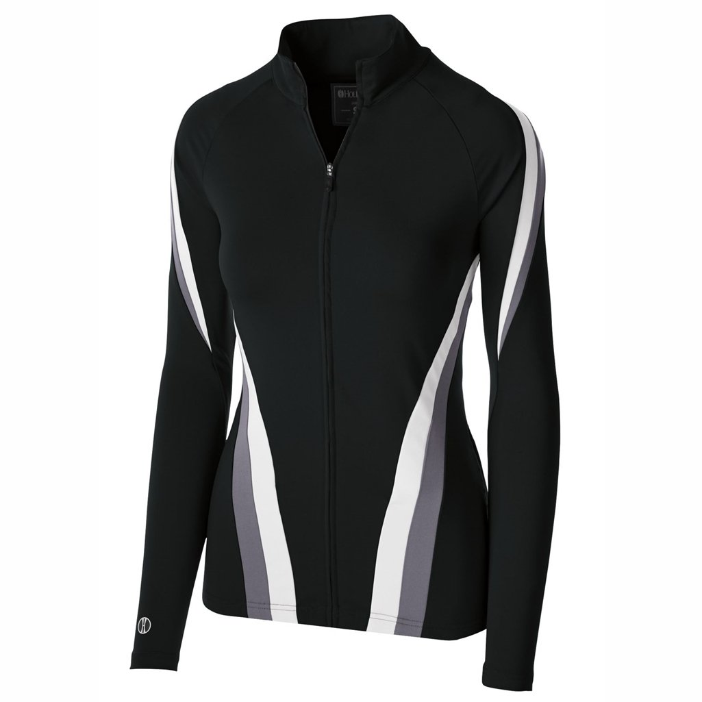 Holloway Dry Excel Girls Aerial Semi Fitted Jacket (Small, Black/Graphite/White)