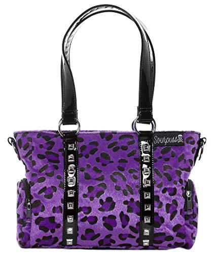 Sourpuss Leopard Mini Leda Stud Purse Purple (Leopard Purse Purple Print)