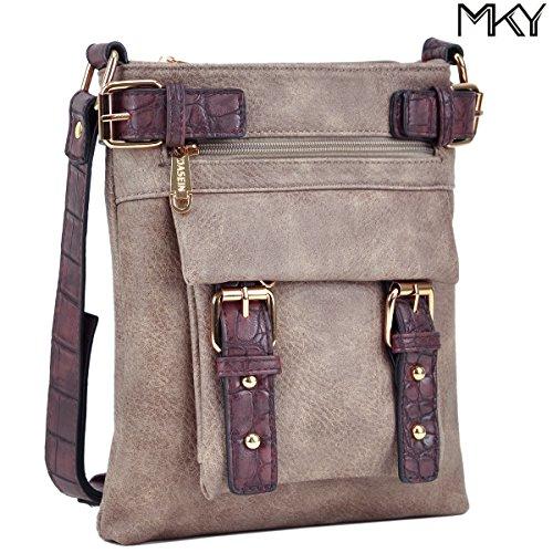 Women Men Front Belt Crossbody Bag Small Vintage Messenger Bag Multi-pocket Shoulder Purse - One Square Ma