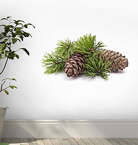 Wallmonkeys Wall Decals Siberian Pine Cones with Branch Peel and Stick Wall Decal, 18 x 12