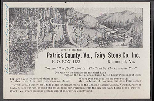 Patrick County Fairy Stone sales flyer Richmond VA ca 1910s