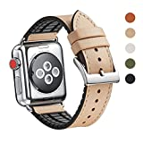 WFEAGL Compatible Apple Watch Band 38mm, Top Grain Leather And High-Quality Nature Rubber Hybrid Sweatproof Band Replacement Strap for iWatch Series 3,Series 2,Series 1, Sport (38mm Camel Hybrid Band)
