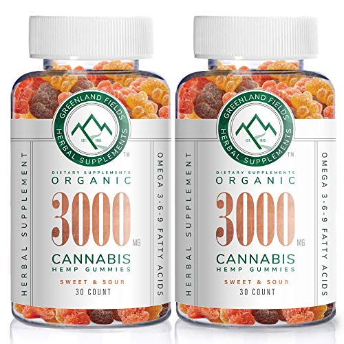 51grlNxhzUL - (2-Pack) Organic Hemp Chewy Bears - 3000MG - Active Joint & Muscle Relief, Better Sleep, Sweet & Sour, Infused with Colorado Grown Hemp, Rich in Omega 3-6-9 & Vitamin E, Non-GMO, Vegan.