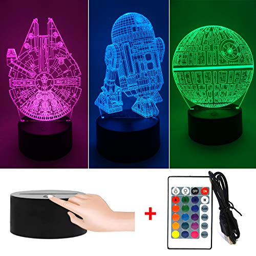 Cheap 3D Illusion Star Wars LED Night Light for Kids, 3 Style and 7 Color Change Decor Lamp – Perfect Gifts for Star Wars Fans