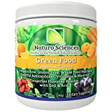 Natural Greens Food By Naturo Sciences - Complete Raw Whole Green Food Nutrition with Super Powerful Antioxidants, Vitamins, Minerals with Goji and Acai - Tangerine Flavor 8.5oz (240g) 30 Servings