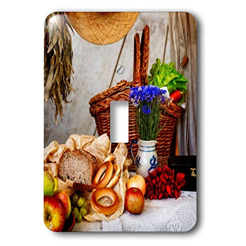 3dRose Alexis Photography - Still-Life - Bunch of blue cornflowers, bread, apples, red pepper, snack basket - Light Switch Covers - single toggle switch (lsp_304791_1)