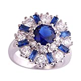Psiroy Women's 925 Sterling Silver 5cttw Sapphire Quartz Filled Ring