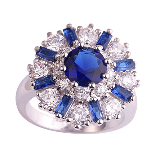 (Psiroy 925 Sterling Silver Created Blue Sapphire Filled Cluster Flower Statement Ring)