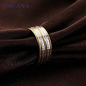 Women suit of stainless steel coated with 18 carat gold decorated with slanted lines (size 7) NO.R83