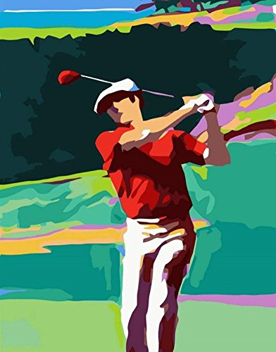YEESAM ART New DIY Paint by Number Kits for Adults Kids Beginner - Golf Sports Athletic 16x20 inch Linen Canvas - Stress Less Number Painting Gifts (Golf, Without Frame)