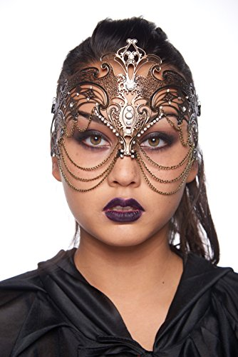 KII Etruscan Goddess Masquerade Mask (Unisex; One Size Fits Most; Vintage Gold/Clear Rhinestones)