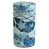 "Japanese Washi Tin Tea Coffee Canister ""Shiki Seigaiha"" stylized flower and ocean pattern"