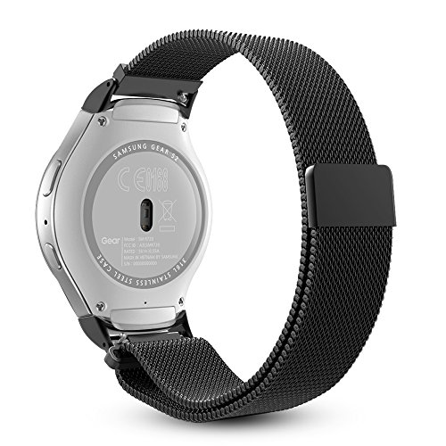 Gear S2 Watch Band [Large], Fintie [Magnet Lock] Milanese Loop Adjustable Stainless Steel Replacement Strap Bands for Samsung Gear S2 SM-R720 / SM-R730 Smart Watch - Black by Fintie (Image #9)