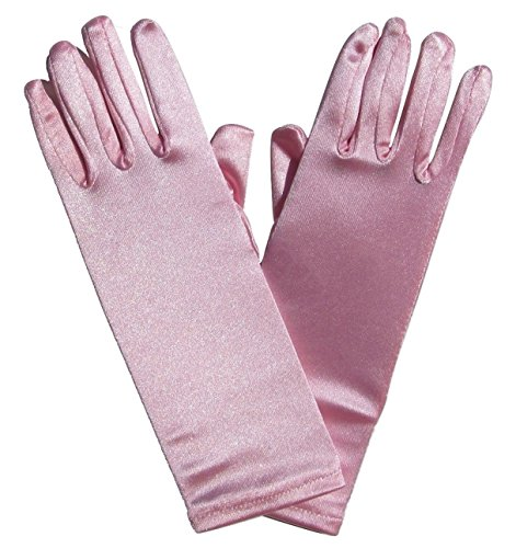 So Sydney Kids Long Dress-Up Princess Costume Gloves, Soft Satin Shimmer Fabric (Pink (Princess))