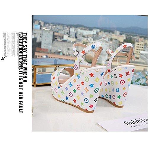 Materiale Sandali Suola Piattaforma Donna Donna Stampa di 001 Slipsole 2S white Panno Zeppa Alta 10cm Tacco KJJDE XXYY Gomma FzqnHr7F