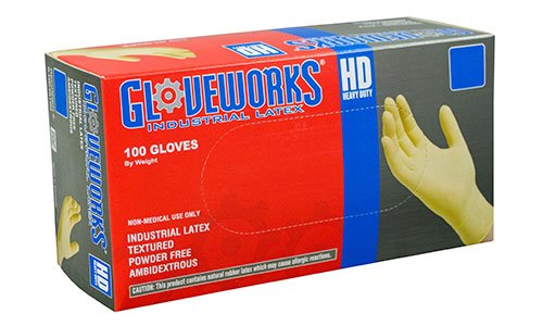 AMMEX - ILHD44100 - Latex Gloves - Gloveworks - Disposable, Powder Free, Industrial, 8 mil, Medium, White (Case of 1000) by Ammex