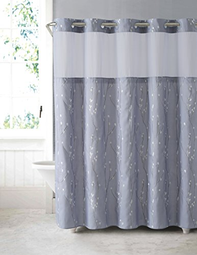 Hookless RBH40MY081 Cherry Bloom Shower Curtain with Peva Liner -  Purple Grey