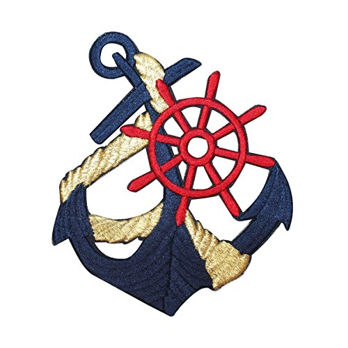ID 2611 Navy Anchor Patch Boat Captain's Wheel Nautical Ship Iron On - On Iron Anchor Transfers
