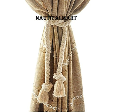 DECORATIVE CURTAIN TIEBACK COTTON CORD ROPE FOR RUSTIC ROOMS BY NAUTICALMART