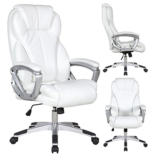 Executive Manger PU Leather Office Chair WHITE High Back Desk Conference Room by Tamsun (Image #5)