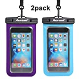 Universal Waterproof Case - Ansot IPX8 Waterproof Phone Pouch - Cellphone Dry Bag for iPhone X/8/ 8plus/7/7plus/6s/6/6s Plus Samsung Galaxy s8/s7 Google Pixel 2 HTC LG Sony Moto up to 7.0'' - 2 Pack