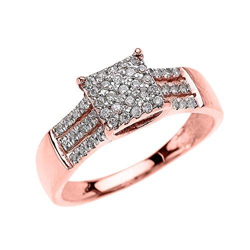 Bague Femme/ Bague De Fiançailles Beautiful 14 Ct Or Rose 3 Rangée Micro Pave Diamant