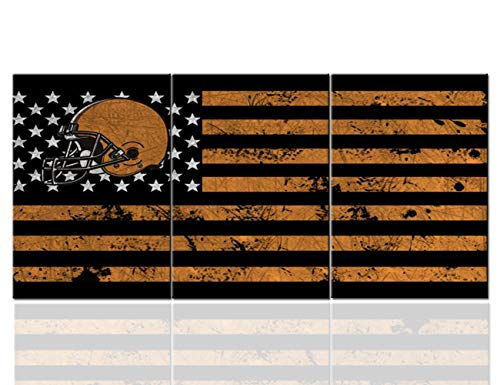American Flag Wall Decor Black Brown Stripes Paintings for Living Room White Stars Pictures Cleveland Browns Wall Art Modern Artwork for House Framed Ready to Hang Posters and Prints(42''Wx20''H)