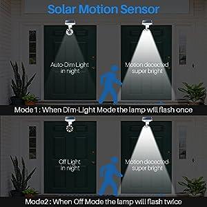 Solar Motion Sensor Light Outdoor Aluminum,1400-Lumens LED Bright Spotlight 5-Watt(110W Equivalent),2-Modes Wireless Solar Flood Security Lights for Garden Porch Patio,Solar Powered Lights(White)