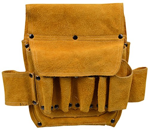 DS-Space 9-Pocket Heavy Duty Leather Tool Pouch/bag with Belt for Electrician or Carpenter