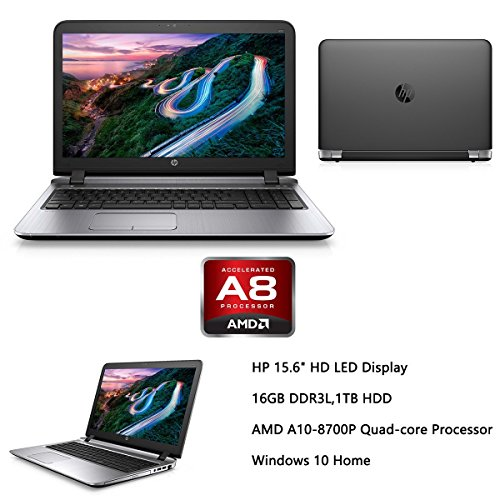 2016 HP Probook 15.6' Premium High Performance Laptop, AMD Quad Core A10-8700P up to 3.2GHz, 16GB RAM, 1TB HDD, AMD Radeon R6 Graphics, DVD+/-RW, HDMI, VGA, Bluetooth, Wifi, Webcam, Windows 10