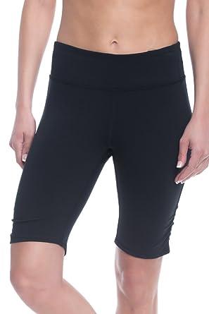 GAIAM Women's Om Yoga Short Performance Spandex Compression Legging Shorts  - Black Tap, Small