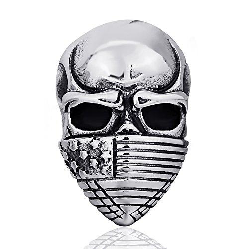 - Elfasio Men's Stainless Steel Ring Band American Flag Mask Skull Gothic Biker Jewelry(Size 15)