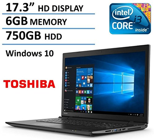 "2016 Toshiba Satellite 17.3"" High Performance Laptop PC, Intel i3-5005U Processor, 6GB RAM, 750GB HDD, DVD+/-RW, Webcam, HDMI, WIFI, Bluetooth, Windows 10, Black"