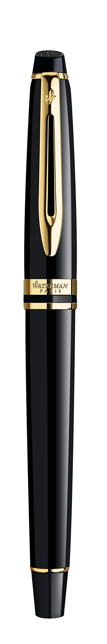 Waterman Expert Fountain Pen, Gloss Black with 23k Gold Trim, Medium Nib with Blue Ink Cartridge, Gift Box by Prismacolor (Image #6)