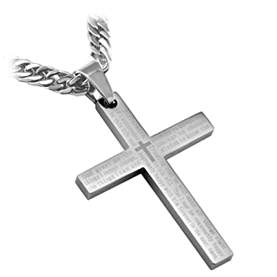 Stainless steel silver serenity cross pendant necklace with english stainless steel silver serenity cross pendant necklace with english scripture including 24quot curb chain from aloadofball Image collections