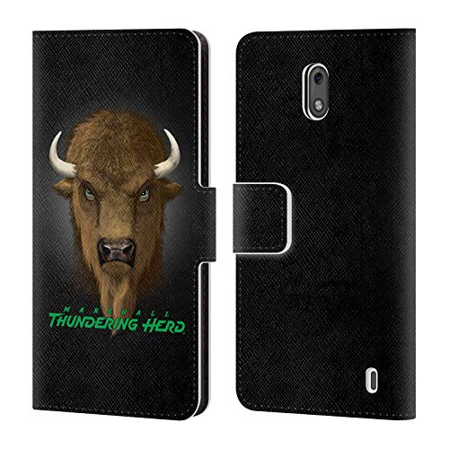 (Official Vincent HIE Marshall University Collegiate Varsity Leather Book Wallet Case Cover Compatible for Nokia 2)