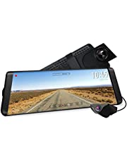 """AUTO-VOX X2 Streaming Media Dash Cam,1296P Full HD 9.88"""" Touch Screen, 720P IP68 Waterproof Rear View Camera Night Vision,Dual Lens Mirror Dash Cam with G-sensor, Parking Mode, Loop Recording, LDWS"""