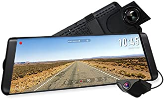 "AUTO-VOX X2 9.88"" Mirror Dash Cam,Dual Lens Stream Media Touch Screen Camera Recorder,1296P FHD Front and 720P AHD Rear View Camera,140°Wide Angle Backup Camera, G-Sensor, LDWS, WDR,GPS"