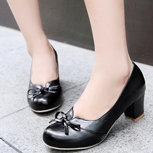 COOLCEPT Fashion Women Block Heels Pumps Slip on Party Court Shoes Sweet Mit Bogen Black 66S5Eorg