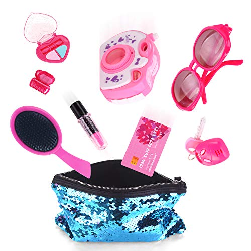 Purse Set Accessory (EXERCISE N PLAY 10 PCS Hot Pink Deluxe Pretend Makeup Play Kit for Kids with Blue Sequin Portable Cosmetic Bag Toddlers Cosmetic Pretend Beauty Set Girls Fun Play Purse Toy Accessory)