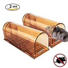 Signstek Pack of 2 Plastic Humane Mouse Trap with Air Hole, Reusable Smart Small Mice Trap Device for Mice, Rat or Rodents (Brown)