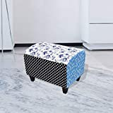 Festnight Patchwork Footstool Country Style Farbic Ottoman Floral Footrest Stool Seating Bench with Wooden Leg Living Room Home Furnicture Decor (Blue)