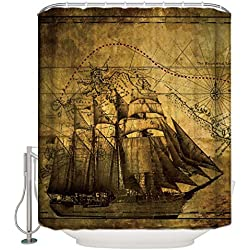 CHARMHOME Vintage Design New Style Nautical Vintage Sailing Pirate Ship Theme Polyester Bathroom Shower Curtain 60(W)(H)-Inch