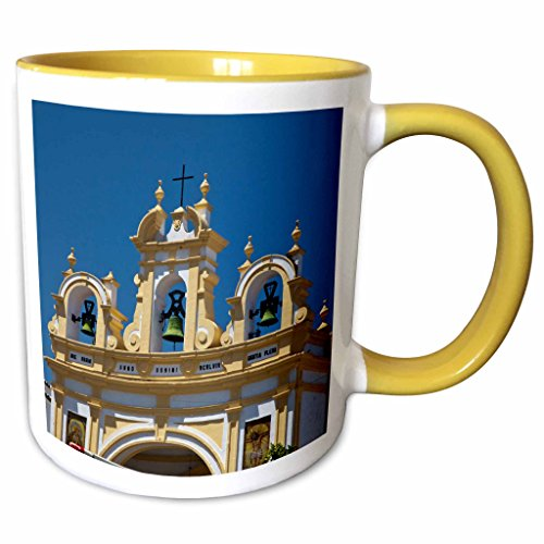 3dRose Danita Delimont - Julie Eggers - Bells - Spain, Andalusia, Zahara. Bell tower of the San Juan de Letran Chapel. - 15oz Two-Tone Yellow Mug (mug_188599_13)