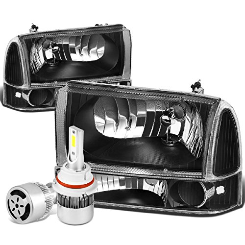 For Ford Super Duty/Excusion 4Pc Black Housing Clear Corner Headlight + Bumper Lamp + 9007 LED Conversion Kit W/Fan
