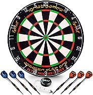 IgnatGames Professional Dart Board Set - Bristle/Sisal Tournament Dartboard with Complete Staple-Free Ultra Th