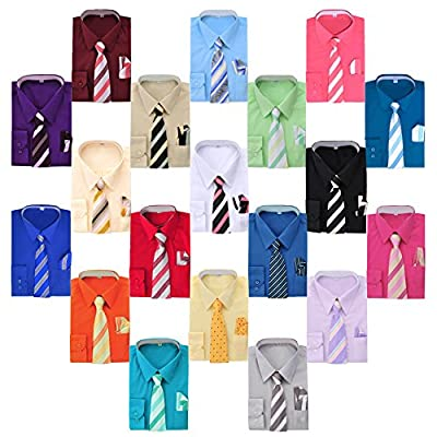 Boy's Dress Shirt, Necktie, and Hanky Set - Many Color and Pattern Combinations
